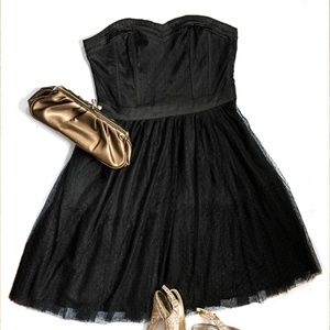 H&M Divided Black LBD Tulle Strapless Dress
